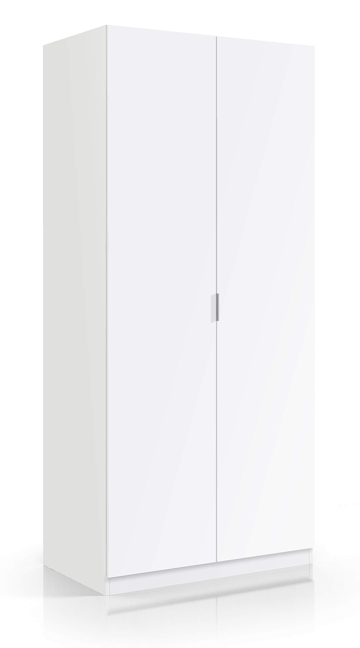 1 Evergreen-House Armadio 3 Ante e 3 Cassetti Porta Abiti Legno Bianco Scaffali Interni