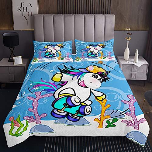 Loussiesd Colcha acolchada de unicornio para niños, para niños, adolescentes, decoración hipster, diseño de unicornio, acolchado, 2 piezas individuales