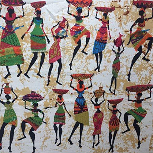 ONECHANCE Tela de Algodón 100% Estampada por Metros Mexicano Tela Decorativa para Textiles del Hogar y Proyectos de Bricolaje 100x145cm Color Estilo Africano Size 2 Metros