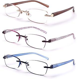 3-Pack Rimless Reading Glasses for Women Spring Hinge Readers Lightweight Classic Elegant Artistic Eyeglasses (Mix, 3.0 x)