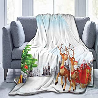 Mannwarehouse Christmas Blankets,Plush Blanket,Santa,Snow Covered Christmas Village with Cartoon Santa On His Sleigh Big Tree and Boxes,Multicolor-Cozy Luxury Bed Blanket(84