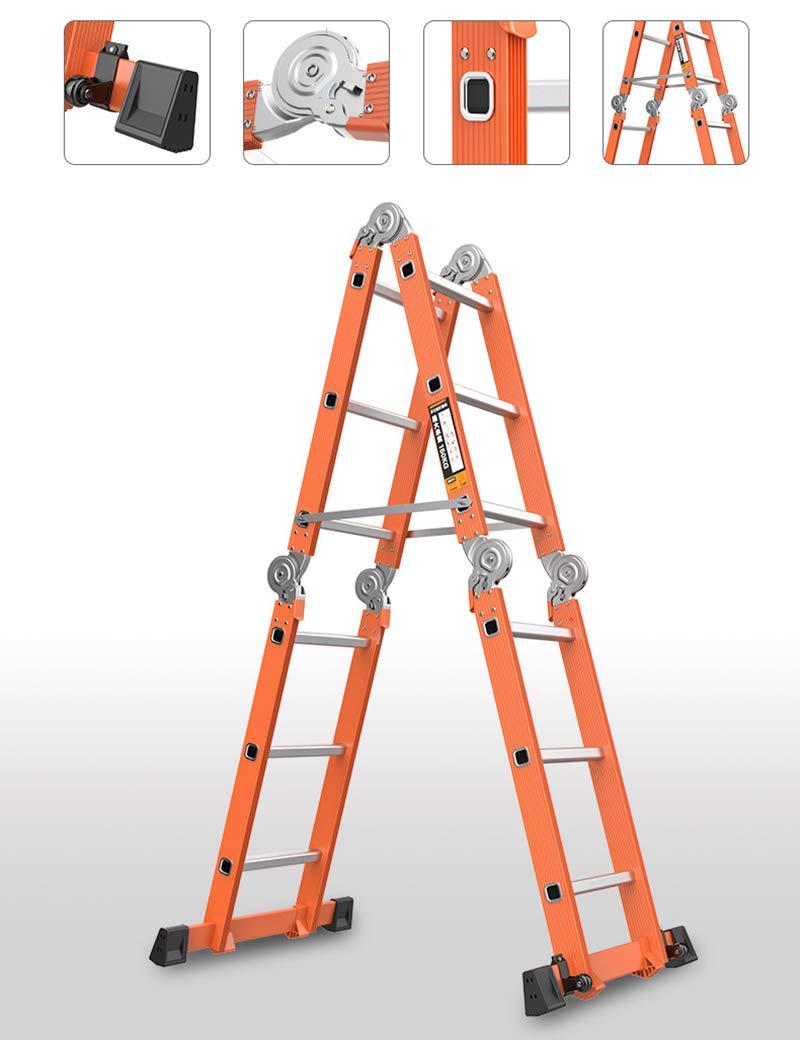 Qi Peng Escalera plegable multifunción Escaleras de engrosamiento de aleación de aluminio Escalera telescópica de uso doméstico Escalera de elevación escalera de ingeniería: Amazon.es: Electrónica