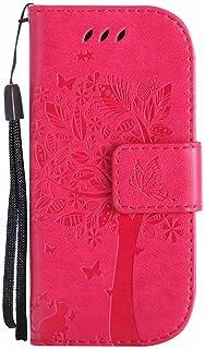 جراب Nokia 3310(2017)، جراب قلاب ومحفظة من الجلد الصناعي بنمط فراشة وقطة شجرة منقوشة لهاتف Nokia 3310 (2017) - أحمر وردي