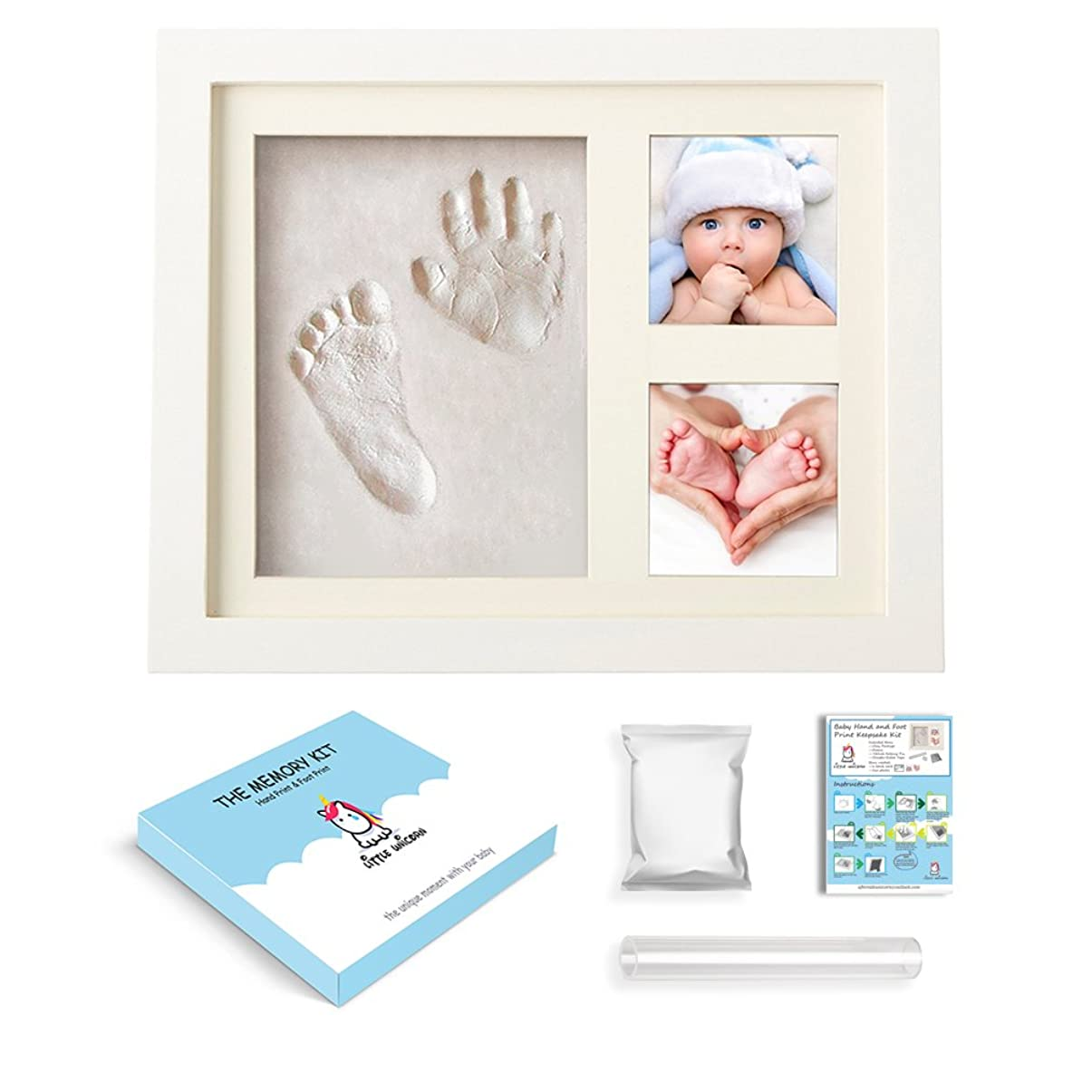 仮説多数のキャンペーンBaby Handprint Footprint Kit - Little Unicorn Baby Shower Keepsake Gift for Baby Girl and Boy