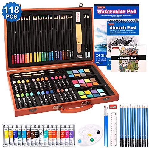 118 Piece Deluxe Art Set, Shuttle Art Art Supplies in Wooden Case, Painting Drawing Art Kit with Acrylic Paint Pencils Oil Pastels Watercolor Cakes Coloring Book Watercolor Sketch Pad for Kids Adults