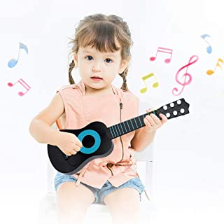 WEY&FLY Kids Toy Guitar 6 String, Baby Kids Cute Guitar Rhyme Developmental Musical Instrument Educational Toy for Toddlers (Black/Blue)