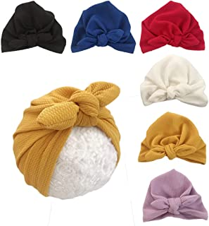 Xinshi Girls Baby Cotton Cloth Turban Kont Toddler Tabbit Ear Hat Kids Set Head Cap
