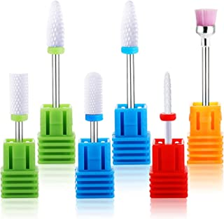Ceramic Nail Drill Bits Set, Aicazeron 6pcs 3/32''(2.35mm) Professional Nail Drill Bit for Acrylic Gel Nail Polishing Manicure Pedicure Cuticle