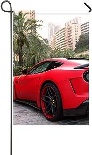 DongGan Garden Flag Ferrari F12 Berlinetta Supercar Novitec Rosso N Largo 12x18 Inches(Without Flagpole)