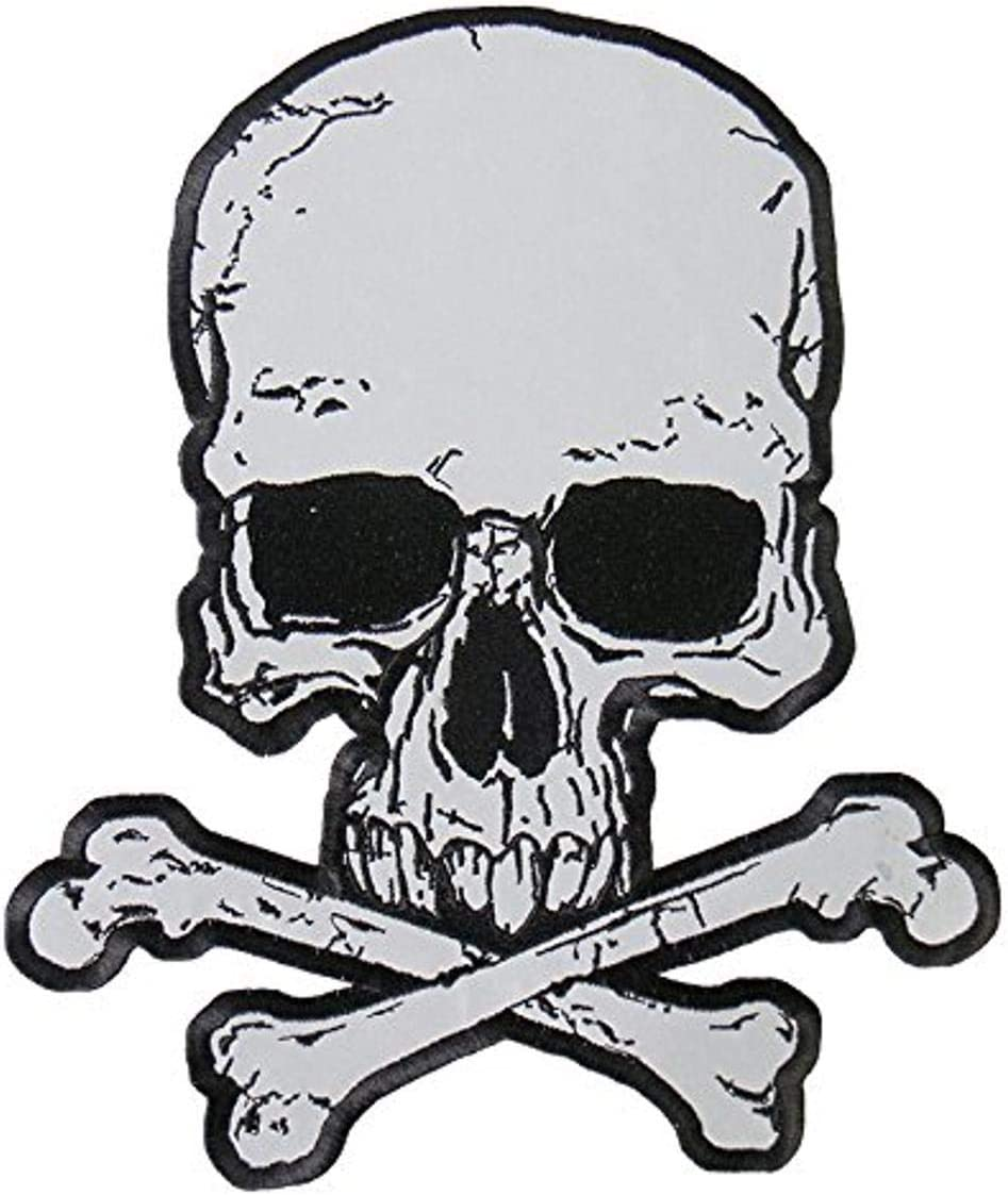 Multicolor, 3 Width x 4 Height Hot Leathers Reflective Jumbo Skull and Crossbones Patch