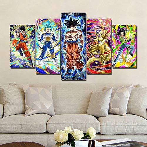 Fbewan Leinwanddrucke Dragon Ball Z Bild Auf Leinwand Gedruckt 5 Panels Drucken Super Saiyan Wandkunst Bilddrucke Leinwände Für Wohnzimmer Dekoration,B,30×50Cm×2+30×70Cm×2+30×80Cm×1