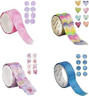 4 Roll Creative Flower Petal Washi Tape, Masking Tape Decorative Decals, 200 Petals/Roll DIY Petal Stickers for Scrapbooking, Diary, Bullet Journal,Traveler's Handmade Journal Book, Planner
