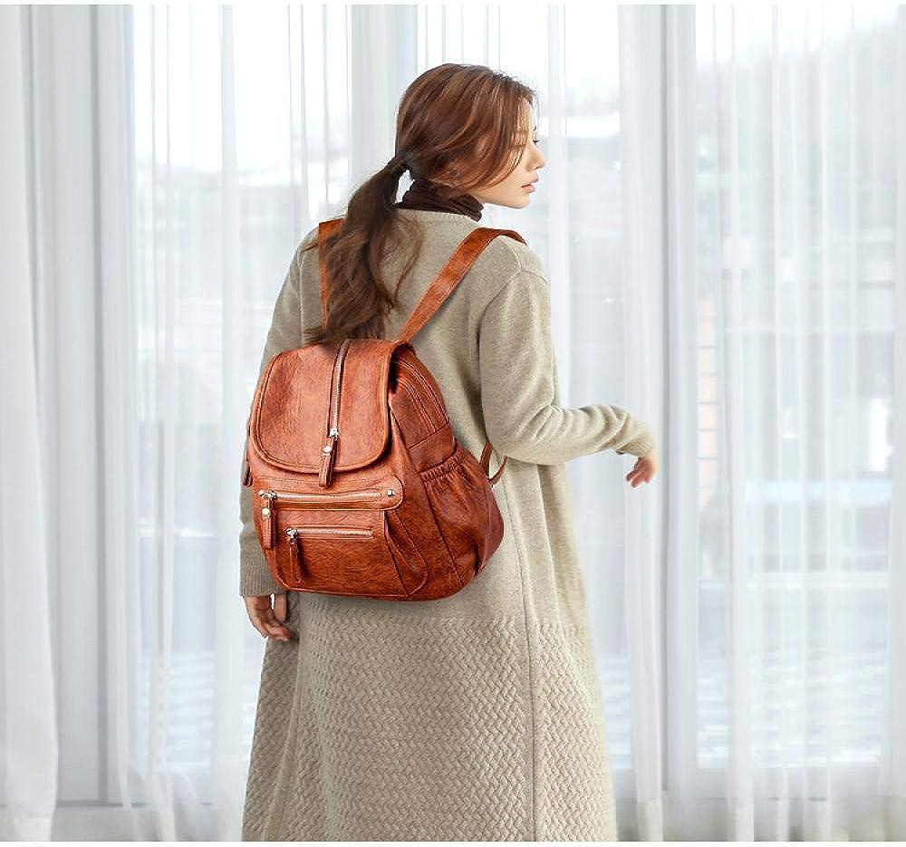 JIAOSHUAIYU sac à dos femmes sac à dos de haute qualité en cuir mode école sacs à dos femme féminin décontracté grande capacité Vintage sacs à bandoulière Darkbrown