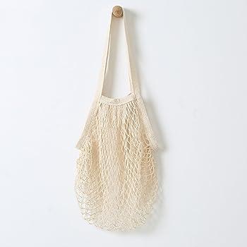 NOVEDAD: bolsas de red de algodón Metyou. Bolsa para uso como bolsa de la compra, almacenamiento de fruta u organizador de bolsas beige: Amazon.es: Hogar