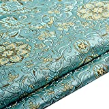 Tessuto Broccato di Raso Cinese Loto Fiore da Ricamo per Foglio DIY Cloth Materiale (Azzurro, Venduto al Metro)