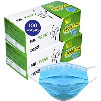 Roseate® Mr Mask Disposable (Pack of 100) with Nose Pin Non-Woven Anti Pollution Surgical 3 Ply Face Mask with Triple Filtration (Blue) Box Packaging