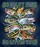 Nu Trendz Signature Designs Licensed Super Soft Throw Blanket with Sherpa Lining 50'x60' (So Many Fish)