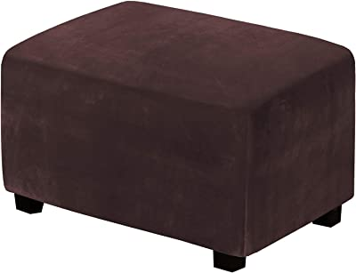 Velvet Ottoman Covers Stretch Foot Stool Cover Ottoman Slipcovers for Living Room Foot Rest Cover