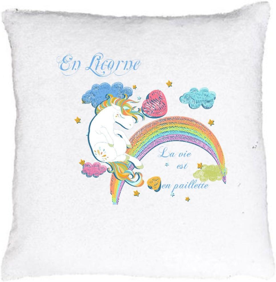Nouveau Magique Licorne Coussin SEQUIN remplie paillettes décoration Coussin Chambre Sofa