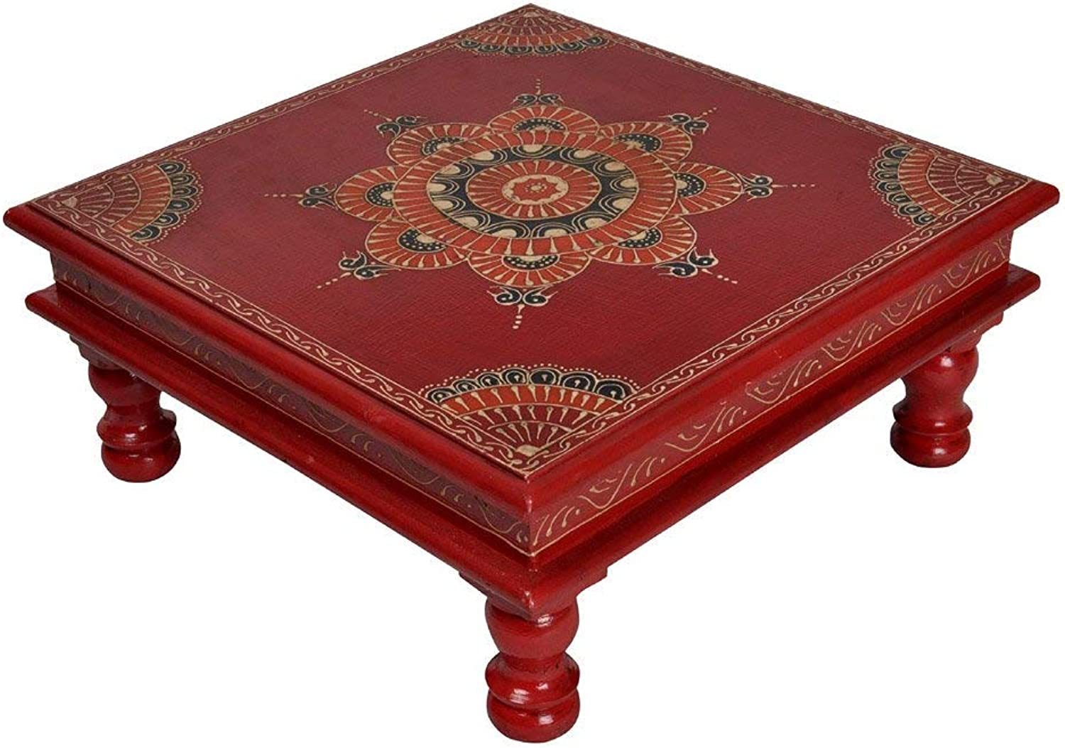 Lalhaveli Square Decorative Stool End Red Tables for Housewarming Gift 13 X 13 X 5.5 Inches