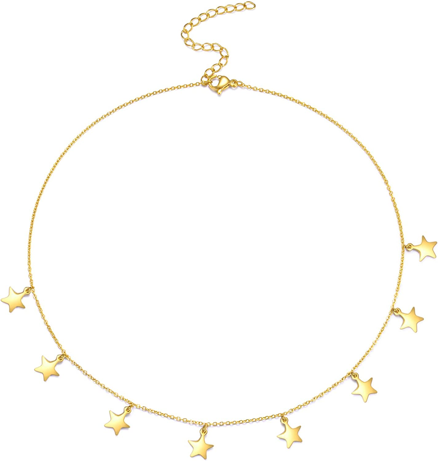 Minimalist Stainless Steel Necklace 18K Gold Plated Choker Fashion Handmade Pendant Chain Valentines Day Gifts for Women Thin Bead Heart Star Ball Necklace