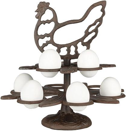 Preisvergleich für Esschert Design Eierständer aus Gusseisen, 25 x 25 x 26 cm, im Huhn-Design, für 10 Eier, Frühstücksei-Ständer