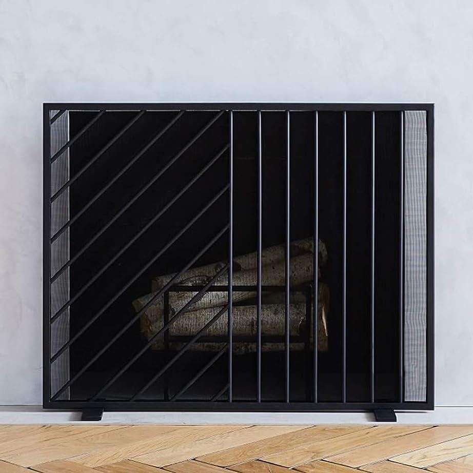 維持する解任ストライド暖炉用品?アクセサリ メッシュ、ストーブ用メタルフレイム暖炉フェンスと赤ちゃんの安全、錬鉄スパークガード用ブラックフラット火災スクリーン/ウッドバーナー (Color : Black)