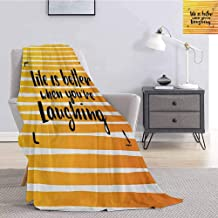 Luoiaax Quote Rugged or Durable Camping Blanket Life is Better When You are Laughing Hand Drawn Calligraphy on Stripes Warm and Washable W60 x L70 Inch Orange Yellow and Black