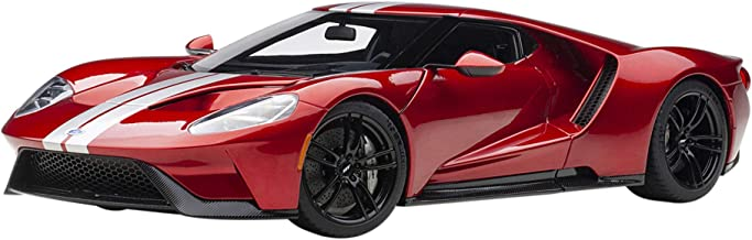 2017 Ford GT Liquid Red with Silver Stripes 1/18 Model Car by Autoart 72943