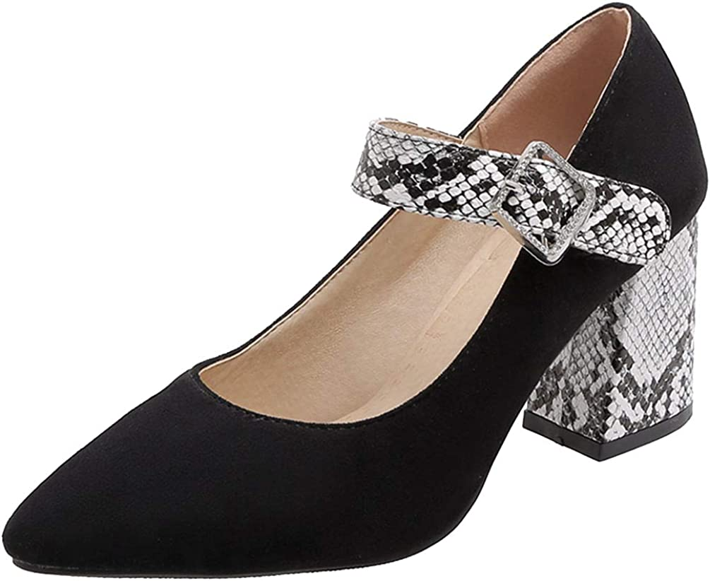 Max 52% OFF Caradise Womens Chunky Mary Janes excellence Pointed Snake Ankle Strap Toe