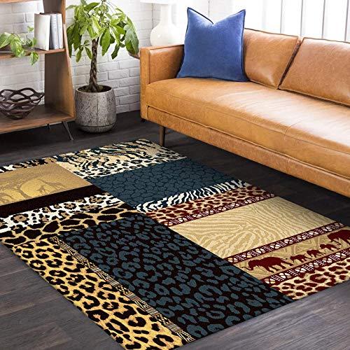 Alfombras Salon Grande Costuras de Leopardo Amarillo Gris Azulado Alfombra para Dormitorio...