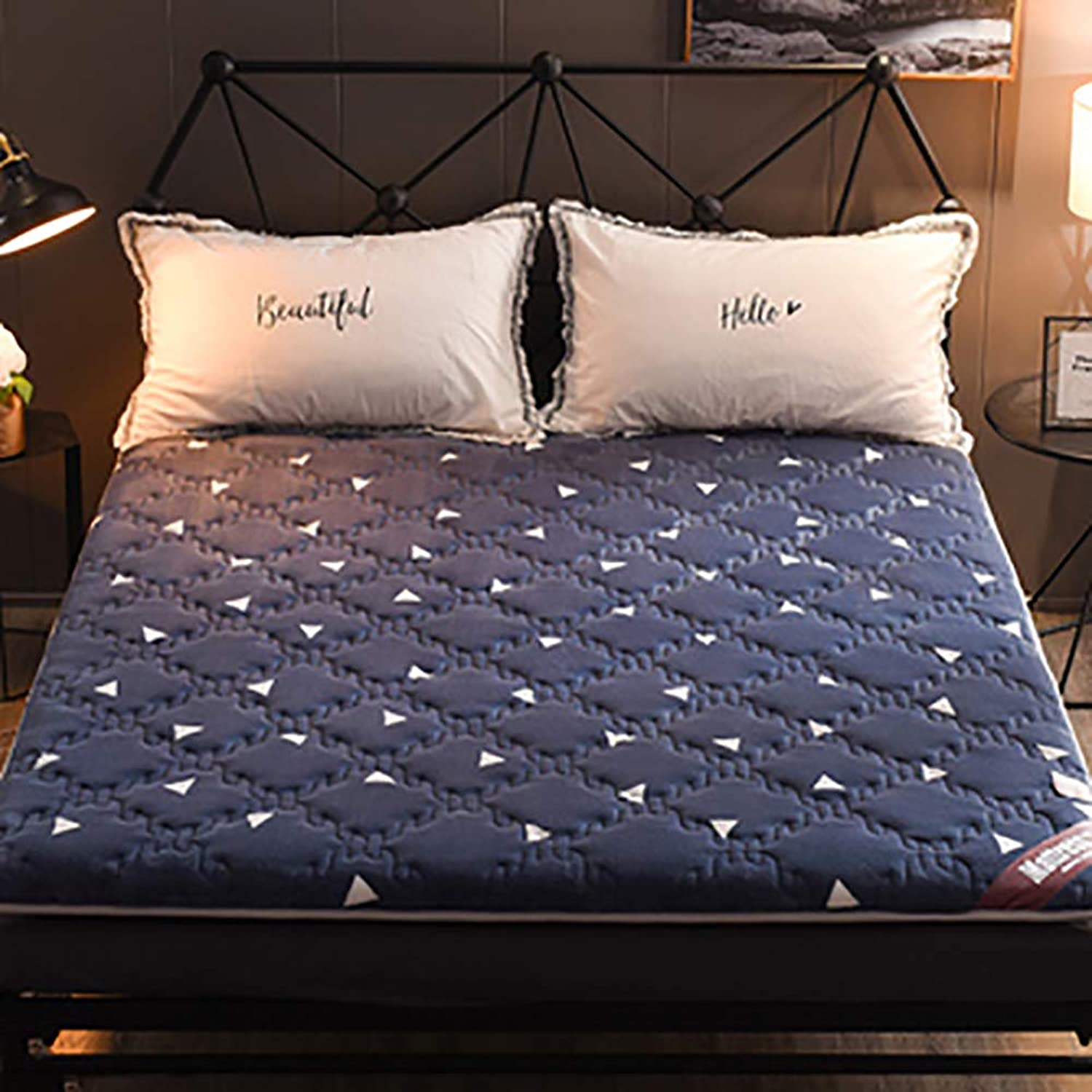 Memory Foam Mattress, Quilted Warm Flannel Bed roll Comfort Luxury Thick Non-Slip Sleeping pad-bluee 90x190x6cm