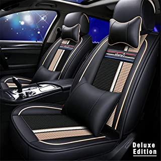 カーシートカバー のために テスラ Model 3 Model X Model S デラックス 5席フォーシーズンズユニバーサルPUレザー車用シートカバーカーシート保護カバーノンスリッ 耐摩耗性 超快適性 自動車内装 黒とベージュ