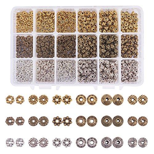 PandaHall Elite - Lot von 900 Stück Perlen Space Beads Spacer Zinklegierung Spacer Beads für die Schmuckherstellung, Gemischte Farbe, 5.5~6.5x2~7.5 mm, Loch: 1~2 mm