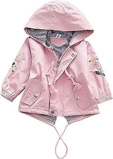 CieKen Girls' Lightweight Water Resistant Hooded Rain Jacket Trench Coat Windbreaker