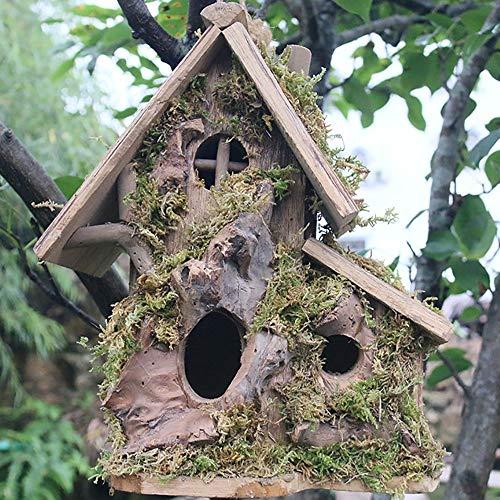 Bird House Oiseau Maison en Bois, Oiseau Hanging Maison en Bois extérieur Nid d'oiseau Nichoir Garden House oiseaux Décoration Pendentif main Nid d'oiseau Jardin Décoration d'élevage Nichoir Mangeoire