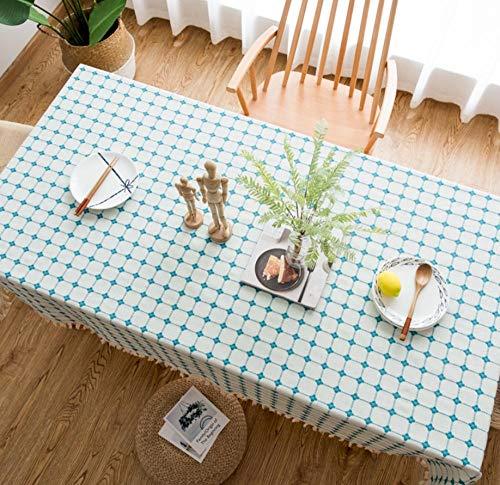 LJJFZP Mantel rectangular de lino de algodón impermeable y resistente a las manchas de boda, fiesta, restaurante, cafetería, cocina, picnic, manteles, enrejado bordado 140 x 200 cm