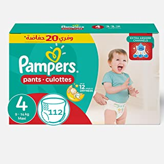 Pampers Maxi Pants Diapers, Size 4-112 Diapers