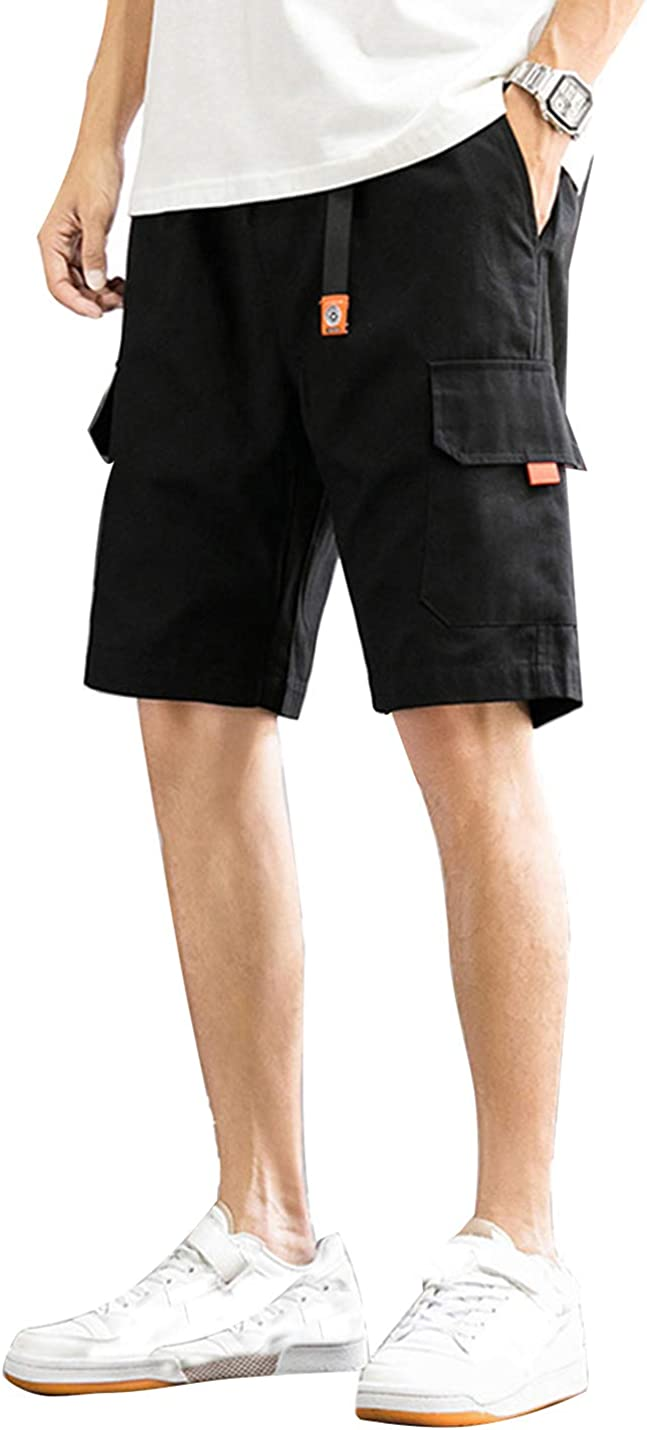 Springrain Men's Casual Cotton Elastic Waist Cargo Multi Pocket Carpenter Shorts