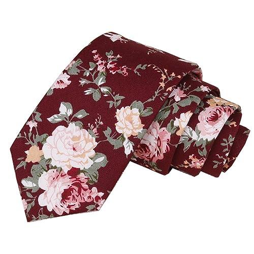 efca7a4c58d3 Floral Tie Men's Cotton Printed Flower Neck Tie Skinny Neckties ...