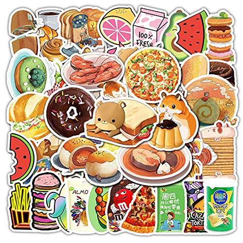 50 unids alimentos y bebidas personalizado pvc impermeable dibujos animados pegatinas maleta portátil teléfono móvil tableta guitarra monopatín casco pegatinas