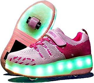 Vansney Scarpe per Pattini a Rotelle con Ricaricabile Luci A LED Modificabili A 12 Colori E Ruote Retrattili Skateboard Sn...