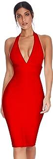 Meilun Womens Deep V Halter Neck Bandage Dress Club Party Night Wear Dress