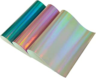 Holographic Fabric Sheets- 3 Pieces A4 Size Assorted Colors Laser Faux Leather Fabric Cotton Back for Kids' Crafts,Doll Making, Hat Making, Hair Crafts,Shoe Making (Mix Color-4)