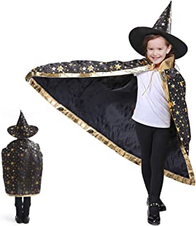 Idefair Halloween Costumes Witch Wizard Cloak with Hat Kids Wizard Cape Child's Costume Party Cosplay Cape Role Play Dress up for Kids Boys Girls Black