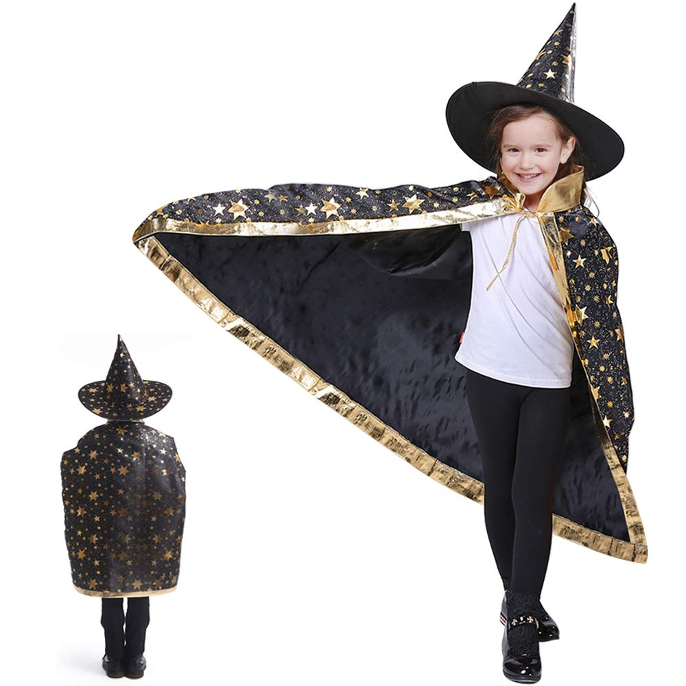Blue iYoYo Kids Halloween Costumes Witch Wizard Cloak with Hat Wizard Cape and Hat Childs Party Costume for Boys Girls Children