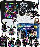 Scratch Art Fogli da Disegno, 143 Arcobaleno Scratch Painting Paper Set Grattare Fogli di Disegni Artistico per Bambini, 60 Fogli Nera Carta da Disegno Scratch 20 Stilo 4 Stencil 1 Pennello Morbido