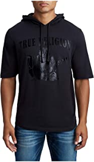 True Religion Men's Short Sleeve Pullover Hoodie Tee in Black