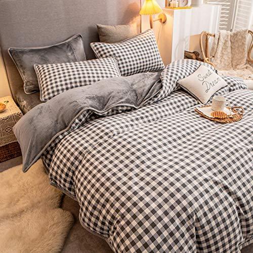 juegos de sábanas de 90-Algodón de franela de invierno más terciopelo ab side funda de edredón individual ropa de cama terciopelo de leche cama individual funda de almohada individual regalo-mi_Cama