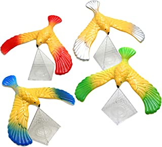 Binory 4pcs Magic Balancing Bird Stress Relief Finger Toys with Pyramid Base, Children Physical Science Adults Office Desktop Novelty Eagle Trick Party Toys,Decompression Birthday Gift for Kids